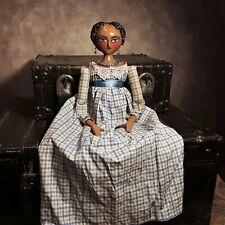 "OOAK Regency 18"" Doll Blue and Ecru Plaid Dark Skin."