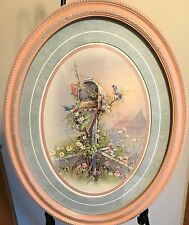"""Homco Home Interiors Picture Oval Frame Pink Blue Mailbox Blue Birds Nest 19 """""""