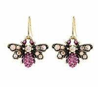 Pink & AB Honey Bee Crystal Rhinestone Earrings Hook Aurora Borealis Insect Bug