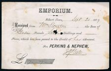 TASMANIA • 1879 receipt from Emporium of Perkins and Nephew, Hobart