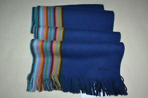 Paul Smith Multi Striped Edge Reversable Blue Scarf New