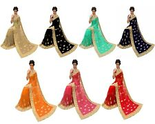 Indian Latest Style Party Wear Women Heavy Embroidery Designer Net Saree