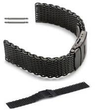 Black Steel Metal Shark Mesh Bracelet Watch Band Strap Double Locking Clasp 5032