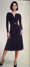 NWOT: LAFAYETTE 148 Wool Interlock Jersey A-Line Dress in Navy, Medium, $598!!