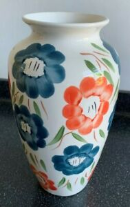 Lovely Hand Painted Vase - White with Blue and Pink Flowers Design