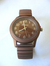 GENEVA  CHOCOLATE BROWN STRETCH LINK BAND DOUBLE DIPPED VELVETY METAL WATCH