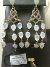 John Hardy White Chain Moon Quartz Diamond Sterling Silver Chandelier earrings