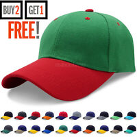 Baseball Cap Plain 2 Two Tone Loop Adjustable Solid Hat Polo Style Visor Caps