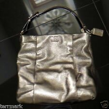 COACH BRONZE METALLIC LEATHER TOTE CARRY-ON HANDBAG SILVER HARDWARE $378 RETAIL