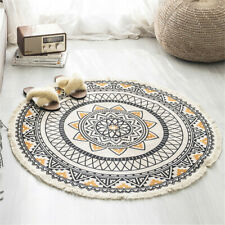 Nordic Round Carpet Bohemia Ethnic Tassel Yellow Mandala Living Room Cotton New