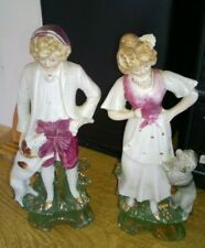 Vintage Ceramic Pottery Staffordshire Style Pair Figures Boy & Girl with dogs