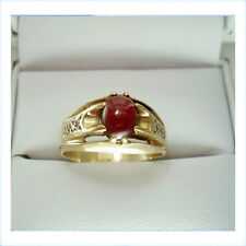 Vintage 1960s 9ct gold and cabochon cut Garnet ring with channel features