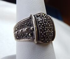 Marcasite and Sterling Ring with tapered beaded side pattern