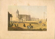 "The Plaza and Church of El Paso,"" by A. de Vauducourt 1857 - Chromolithograph"