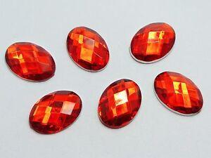 100 Red Flatback Acrylic Rhinestone Oval Gems 13X18mm No Hole
