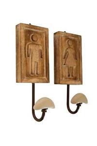 Set 2 appendini / attaccapanni uomo donna in legno a parete