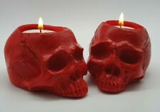 1 x RED Realistic Skull Tealight Goth Halloween Candle Tea Light Holder Gift