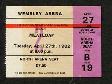 Original 1982 Meatloaf Concert Ticket Stub London Dead Ringer Bat Out Of Hell