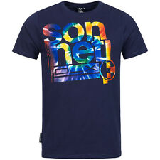 Mens Crew Neck Sonneti Top Tee T-shirt 100 Cotton Regular Fitting Navy L