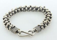 "Vintage Suarti Bali BA Sterling Silver 925 Bead Ball Rope Design Bracelet - 7.5"""