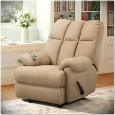 Microfiber Massage Lazy Boy Chair Recliner Padded Dual Rocker Living Room Tan