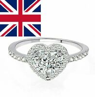 925 Sterling Silver Heart Rings Women Band Heart Jewellery UK FAST SHIPPING