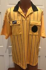 OFFICIAL SPORTS LARGE SOCCER REFEREE SHIRT/JERSEY YELLOW W/BLACK STRIPES