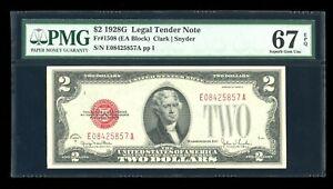 DBR 1928-G $2 Legal Fr. 1508 EA Block Superb Gem PMG 67 EPQ Serial E08425857A
