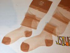 3 Vintage Albert's nylons Rht Flat Knit stockings Sheer Shiny Silky Beige 9 x 31
