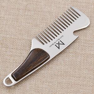 Portable Stainless Steel Wood Grain Beard Shaving Pocket Comb Mustache Brush