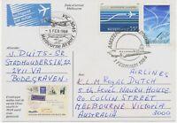 """NIEDERLANDE 1984 """"Uiver""""-Erinnerungs-Sonderflug a. Sonderflugpostkarte MELBOURNE"""