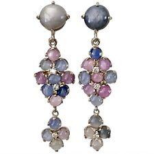 Art Deco Style No Heat Burma Star Sapphire Earrings White Gold