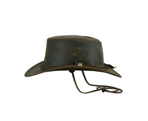Crazy Horse Cowboy Hat Western Australian Suede Leather Outback Bush Hat