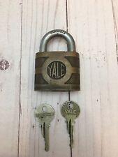 "Vintage ""The Yale & Towne Mfg.Co.""Padlock Brass/Steel Shackle 2 Keys."