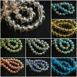Glass Round Beads 8mm 50pcs Faceted Crystal Spacer Mixed Jewelry Findings