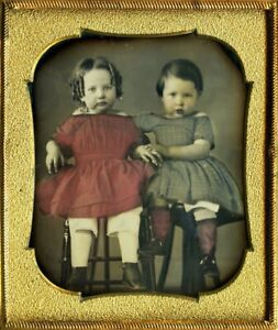 A Museum Quality Daguerreotype of Vibrantly Tinted Siblings - A Masterpiece!