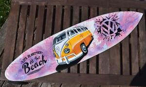 Surfer Deko Surfboard 100cm mit Bus Life is better at the beach Hartholz T1 T2