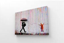 "BANKSY COLOURED RAIN CANVAS WALL ART PICTURE PRINT - STREET ART SIZE 12"" X 16"""