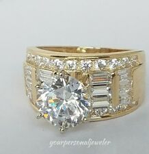 Solid 14k yellow Gold 4.0ct Man Made Diamond Engagement wedding Ring size 7