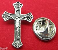 Crucifix Lapel Hat Cap Tie Pin Badge Catholic Cross Brooch Holy Religious Gift