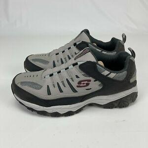 Skechers Sport Mens Afterburn Grey Black Memory Foam Training Shoes Size 11 Wide