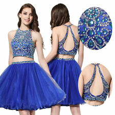 2 Pieces Short Prom Dress Beaded Mini Homecoming Dress Royal Blue Party Ballgown