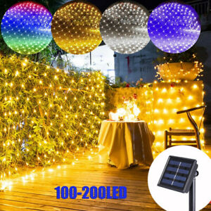 Outdoor Solar Powered LED String Net Lights Fairy Curtain Mesh Lights Party UK