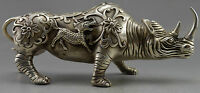 Collectible Decorated Old Handwork Tibet Silver Carve Big Rhinoceros Statue