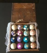 ANTIQUE 1800'S CLAY POOL BILLARDS BALL SET ALONZO BURT Double Stripe Beach Balls