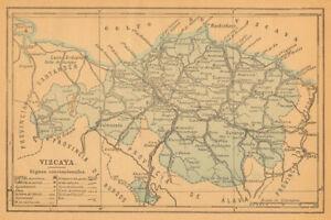 BISCAYBIZKAIA VIZCAYA. Bilbao Bilbo. Euskadi. Mapa antiguo de la provincia 1914