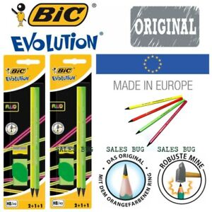 Bic Evolution Fluo Stationery Set Neon Green Yellow Pencil Sharpener Rubber DEAL