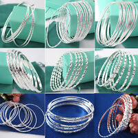 Wholesale 925 Silver Filled Women & Men Fashion Bracelet Cuff Bangle Chain NEW