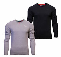 Superdry Mens New Orange Label V Neck Cotton Jumper Long Sleeve Black Grey