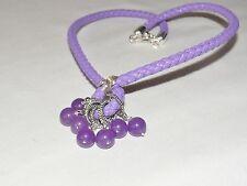 Handcrafted púrpura Jade & Chapado en Plata Colgante Cable de Cuero Sintético PK45